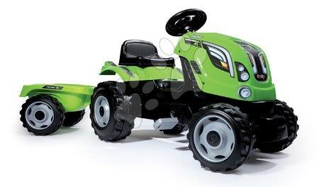 Vehicule cu pedală pentru copii - Tractor cu pedale Fermier XL Smoby cu remorcă verde deschis