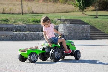 Vehicule cu pedală pentru copii - Tractor cu pedale Fermier XL Smoby cu remorcă verde deschis_1