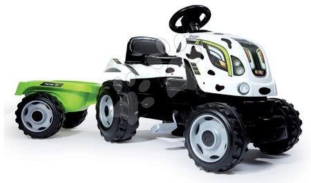 Vehicule cu pedală pentru copii - Tractor cu pedale Fermier XL Văcuţă Smoby cu remorcă alb-negru