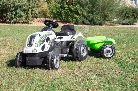 Vehicule cu pedală pentru copii - Tractor cu pedale Bull Văcuţă Smoby cu remorcă negru-alb_1