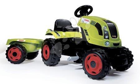 Traktor s pedalama CLAAS Farmer XL Žaba s prikolicom zeleni