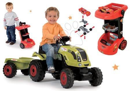 Claas - Set traktor na šlapání Claas Farmer XL s přívěsem Smoby a pracovní stůl na kolečkách Auta 3 s autíčkem