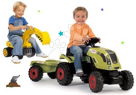 Claas - Set traktor na šlapání Claas Farmer XL Smoby s přívěsem a bagr Maxi Power se sedadlem