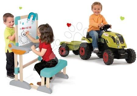 Claas - Set traktor na šlapání Claas Farmer XL s přívěsem Smoby a dřevěná školní lavice Modulo Space