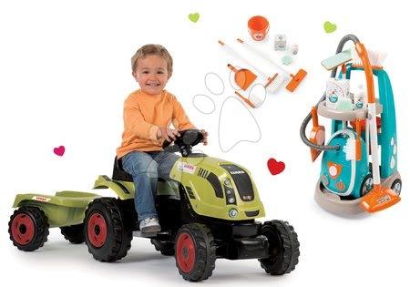 Claas - Set traktor na šlapání Claas Farmer XL s přívěsem Smoby a úklidový vozík s elektronickým vysavačem Vacuum Cleaner