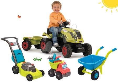 Claas - Set traktor na šlapání Claas Farmer XL Žába Smoby s přívěsem a kolečko s kbelík setem Hrad