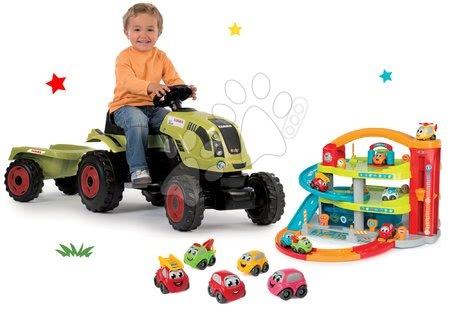 Claas - Set traktor na šlapání Claas Farmer XL s přívěsem Smoby a dvoupatrová garáž Vroom Planet Grand a 5 autíček