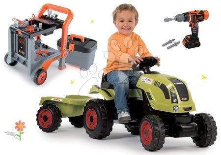 Claas - Set traktor na šlapání Claas Farmer XL s přívěsem Smoby a pracovní dílna Black&Decker Devil Workmate 3v1 s elektronickou vrtačkou