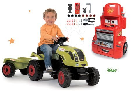 Claas - Set traktor na šlapání Claas Farmer XL s přívěsem Smoby a pracovní dílna vozík Auta Mack Truck