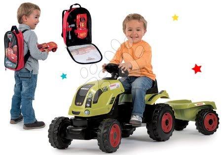 Claas - Set traktor na šlapání Claas Farmer XL Smoby s přívěsem a batoh s nářadím Auta 3 s autíčkem