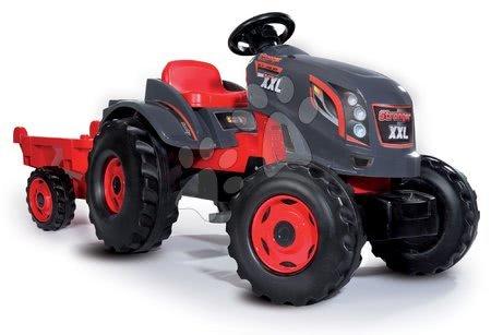 Vehicule cu pedală pentru copii - Tractor cu pedale Stronger XXL Smoby cu remorcă gri-roşu