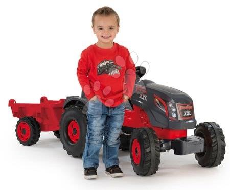 Vehicule cu pedală pentru copii - Tractor cu pedale Stronger XXL Smoby cu remorcă gri-roşu_1