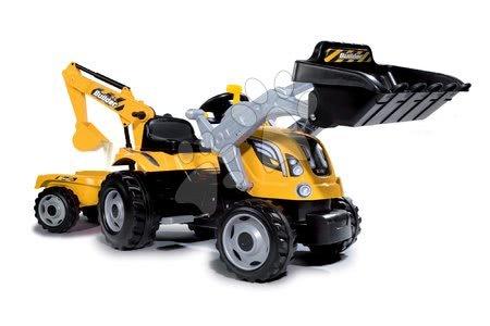 Vozila za otroke - Traktor z bagrom in nakladalno roko Builder Max Smoby s prikolico, na pedale