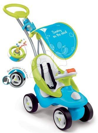 Odrážedlo Bubble Go 2v1 Smoby se slunečníkem a elektronickým volantem modro-zelené od 6 měsíců
