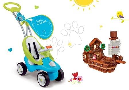 Set babytaxiu Bubble Go Smoby cu melodii şi joc de construit PlayBIG Bloxx Maşa şi ursul în căsuţa de la munte de la 6 luni