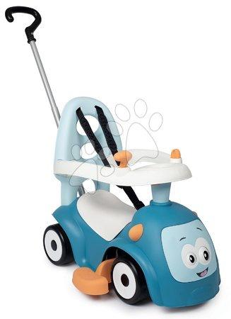 Odrážadlá - Odrážadlo rozšíriteľné Maestro Ride-On Blue 3in1 Smoby s 3 zvukmi a vodiaca tyč s ohrádkou - magické oči od 6 mes