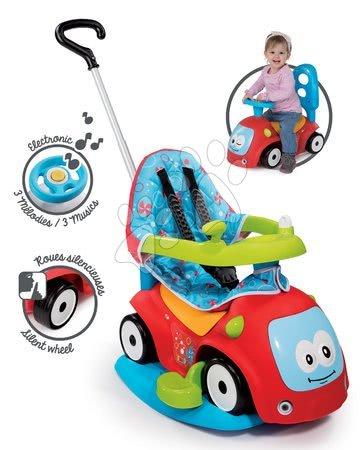 Odrážedlo Maestro Confort Smoby s houpačkou, potahem a elektronickým volantem červené od 6 měsíců