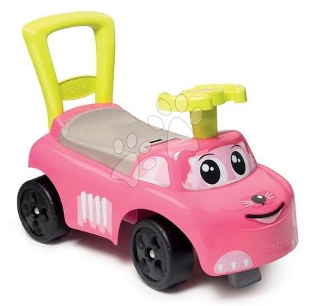 Odrážadlá od 10 mesiacov - Odrážadlo a chodítko Auto Pink Ride-on 2v1 Smoby s úložným priestorom a opierkou ružové