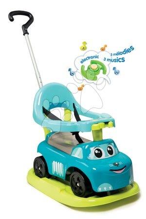 Bébitaxi és hinta Autó Rocking Blue Smoby Elektronikus kiesésgátlóval és teleszkópos tolókarral kék