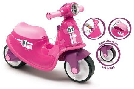 Guralice za djecu od 18 mjeseci - Guralica motocikl s reflektorom Scooter Pink Smoby ružičasta s gumenim kotačima od 18 mjeseci_1