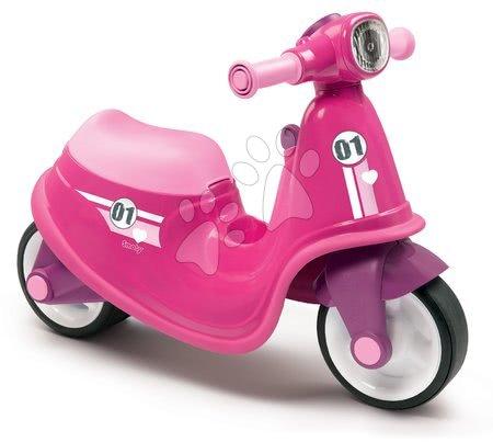 Odrážedlo motorka s reflektorem Scooter Pink Smoby růžové od 18 měsíců