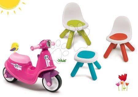 Odrážadlá sety - Set odrážadlo Scooter Pink Smoby s gumenými kolesami a stoličky KidChair so stolíkom od 18 mes