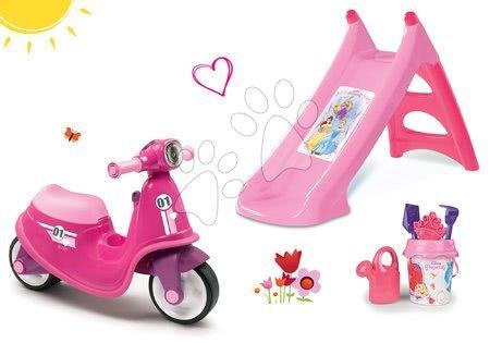 Odrážadlá sety - Set odrážadlo Scooter Pink Smoby s gumenými kolesami a šmykľavka Toboggan s vodou a vedro set od 18 mes