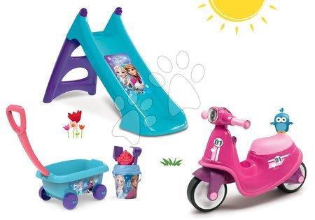 Odrážadlá sety - Set odrážadlo Scooter Pink Smoby s gumenými kolesami a šmykľavka Toboggan s vodou a vozík na ťahanie s vedro setom od 18 mes