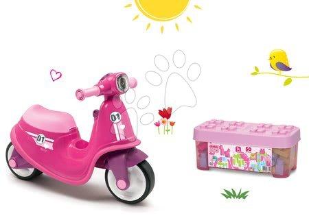 Szett bébitaxi Scooter Pink Smoby gumikerekekkel és építőjáték Maxi Abrick Écoiffier dobozban nagy kockákkal 18 hó-tól