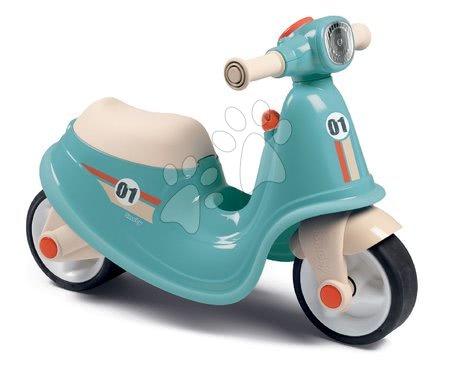 Odrážadlo motorka s reflektorom Scooter Blue Smoby s gumenými kolesami modro-šedé od 18 mes