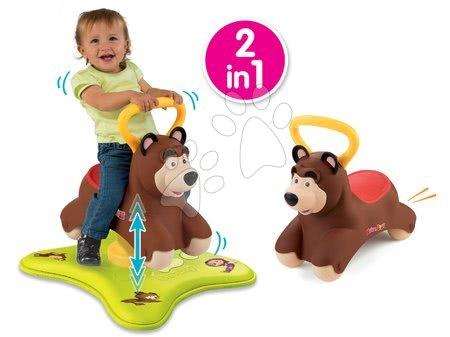 Odrážadlo Máša a medveď 2v1 Smoby skákajúci a točiaci sa medveď od 12 mes