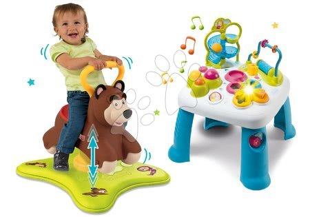Set odrážedlo Medvěd 2v1 Smoby skákající a točící a didaktický stolek Cotoons se světlem a zvukem od 12 měsíců