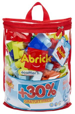 Razvoj čutov in motorike - Kocke v torbici Maxi Abrick Écoiffier modra s 50 kockami + 30 % brezplačno = 65 kock od 12 mes