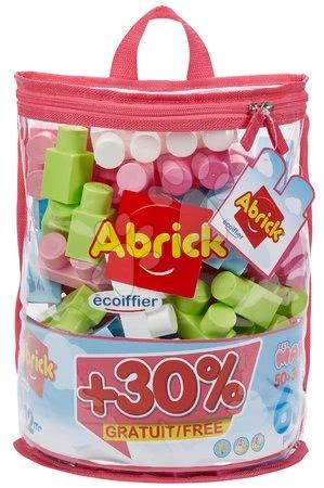 Cuburi de construit în geantă Maxi Abrick Écoiffier roz, 50 de cuburi + 30% gratis = 65 cuburi de la 12 luni