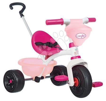 Tříkolka s košíkem Corolle Be Fun Smoby s vodicí tyčí a volnoběhem od 15 měsíců