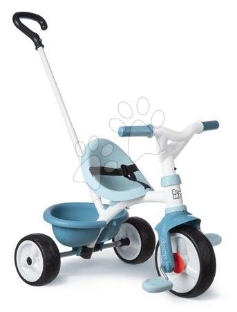 Trojkolky od 15 mesiacov - Trojkolka s voľnobehom Be Move Tricycle Blue Smoby s vodiacou tyčou a EVA kolesami modrá od 15 mes