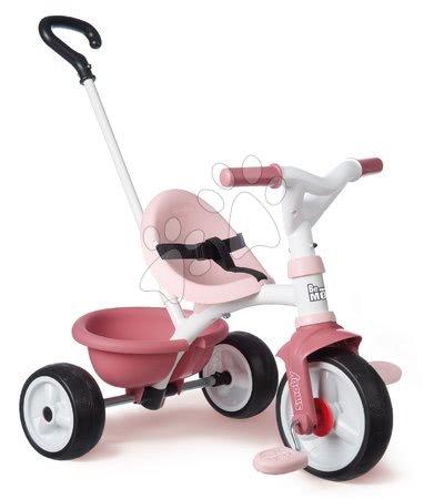 Trojkolky od 15 mesiacov - Trojkolka s voľnobehom Be Move Tricycle Pink Smoby s vodiacou tyčou a EVA kolesami ružová od 15 mes