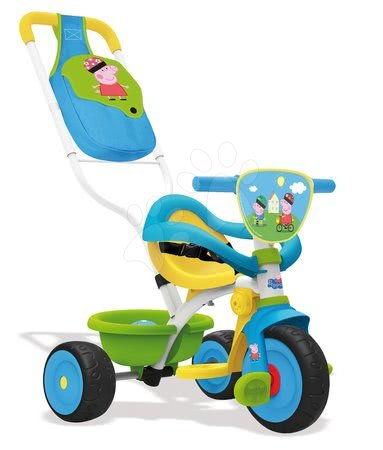 Peppa Pig - Tricikli Kismalac Peppa Pig Be Move Confort Smoby tolókarral és kiesésgátlóval 10 hó-tól