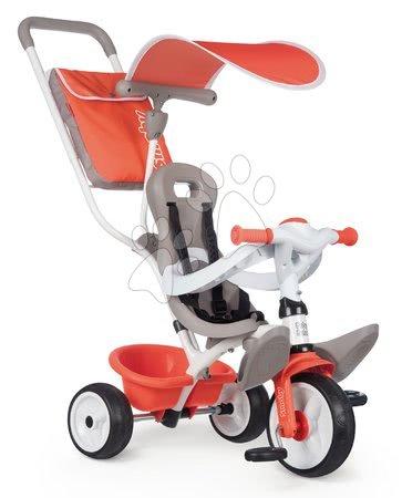 Tříkolky - Tříkolka s vysokou opěrkou Baby Balade Tricycle Red Smoby se slunečníkem a EVA koly červená od 10 měsíců
