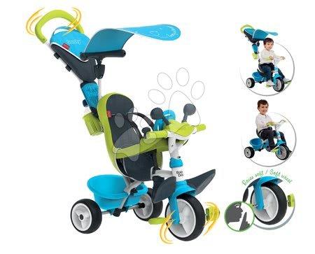 Tříkolka s potahem Baby Driver Comfort Blue Smoby s EVA kolečky a intuitivním ovládáním modrá