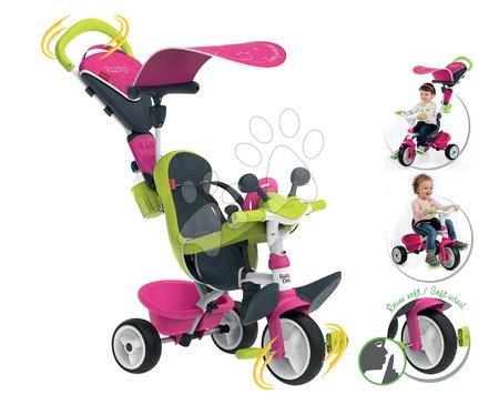 Tříkolka s potahem Baby Driver Comfort Pink Smoby s EVA kolečky a intuitivním ovládáním růžová