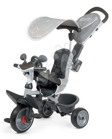 Tříkolky - Tříkolka s potahem DeLuxe Baby Driver Comfort Grey Smoby s EVA koly a intuitivním ovládáním šedá