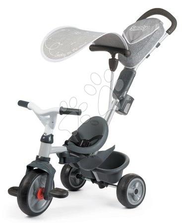 Tříkolky - Tříkolka s potahem DeLuxe Baby Driver Comfort Grey Smoby s EVA koly a intuitivním ovládáním šedá_1