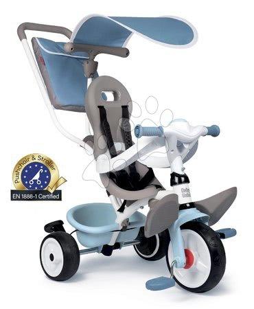 Tříkolky - Tříkolka a kočárek v jednom s vysokou opěrkou Baby Balade Plus Tricycle Blue Smoby s brzdou a EVA koly modrá od 10 měsíců