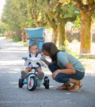 Tříkolky - Tříkolka a kočárek v jednom s vysokou opěrkou Baby Balade Plus Tricycle Blue Smoby s brzdou a EVA koly modrá od 10 měsíců_1