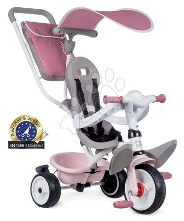 Tříkolky - Tříkolka a kočárek v jednom s vysokou opěrkou Baby Balade Plus Tricycle Pink Smoby s brzdou a EVA koly růžová od 10 měsíců