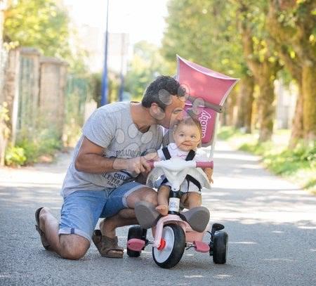 Tříkolky - Tříkolka a kočárek v jednom s vysokou opěrkou Baby Balade Plus Tricycle Pink Smoby s brzdou a EVA koly růžová od 10 měsíců_1