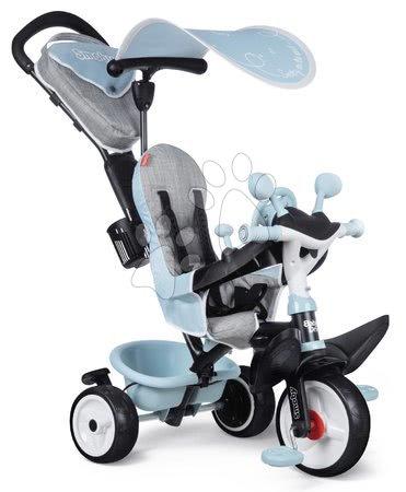 Tříkolky - Tříkolka a kočárek v jednom s brzdou Baby Driver Plus Blue Smoby s EVA koly a intuitivním ovládáním modrá od 10 měsíců