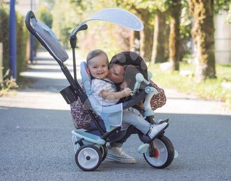 Tříkolky - Tříkolka a kočárek v jednom s brzdou Baby Driver Plus Blue Smoby s EVA koly a intuitivním ovládáním modrá od 10 měsíců_1