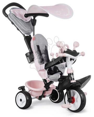 Tříkolky - Tříkolka a kočárek v jednom s brzdou Baby Driver Plus Pink Smoby s EVA koly a intuitivním ovládáním růžová od 10 měsíců